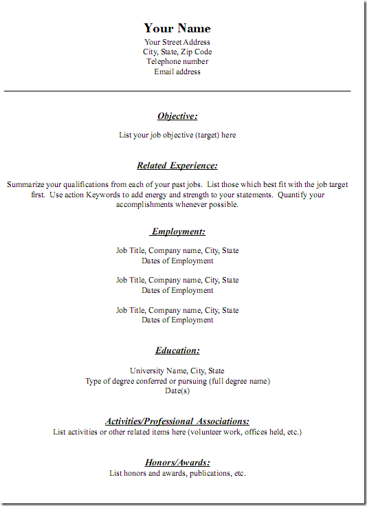 downloadable generic resume templates