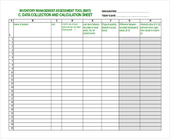 Inventory Sheet Sample \u2013 emmamcintyrephotography