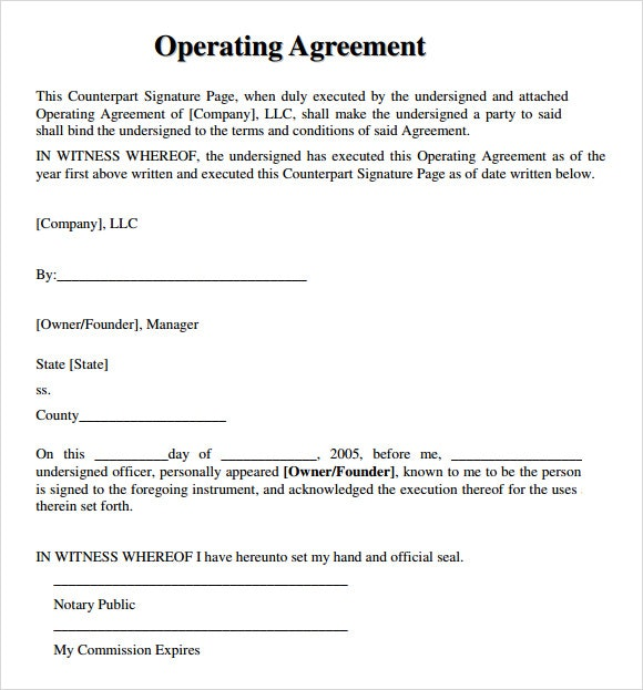 Operating Agreement Template \u2013 emmamcintyrephotography