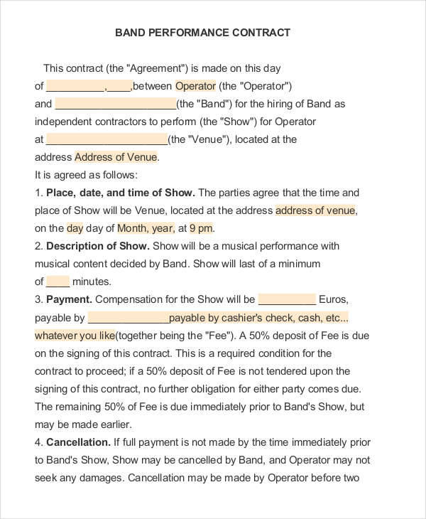Performance contract sample agreement