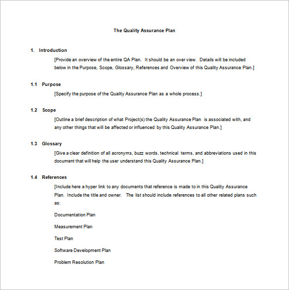 Quality Assurance Plan Example \u2013 emmamcintyrephotography