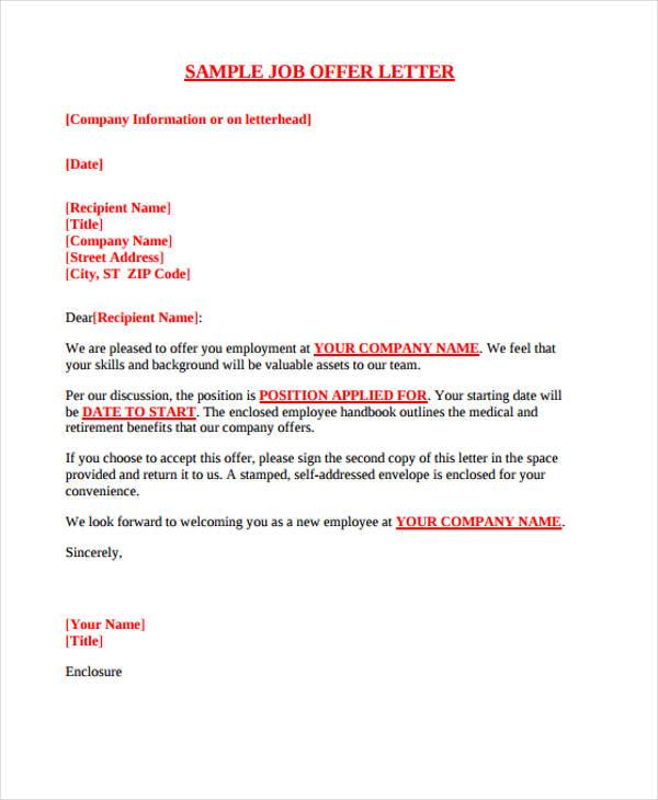 Sample Offer Letter \u2013 emmamcintyrephotography