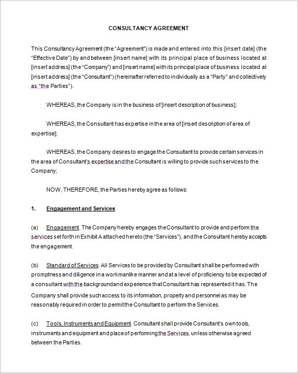 Simple Consulting Agreement Template \u2013 emmamcintyrephotography