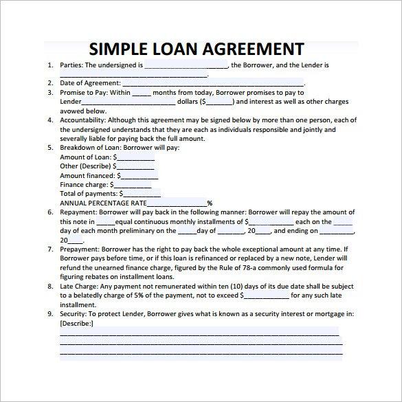 Simple Loan Contract \u2013 emmamcintyrephotography