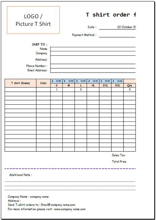 T Shirt Order Form Template Excel \u2013 emmamcintyrephotography