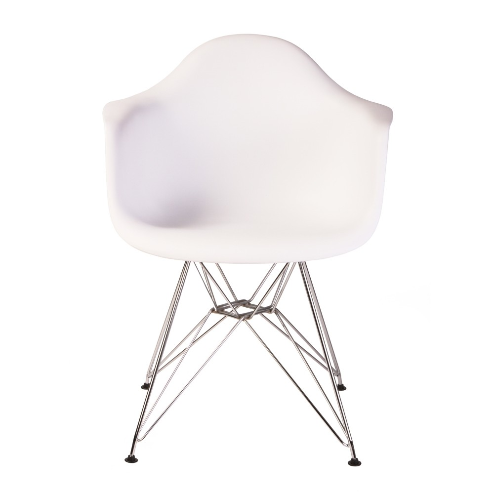 Eames Chair Dar Dar Molded White Plastic Dining Armchair With Steel Eiffel Legs