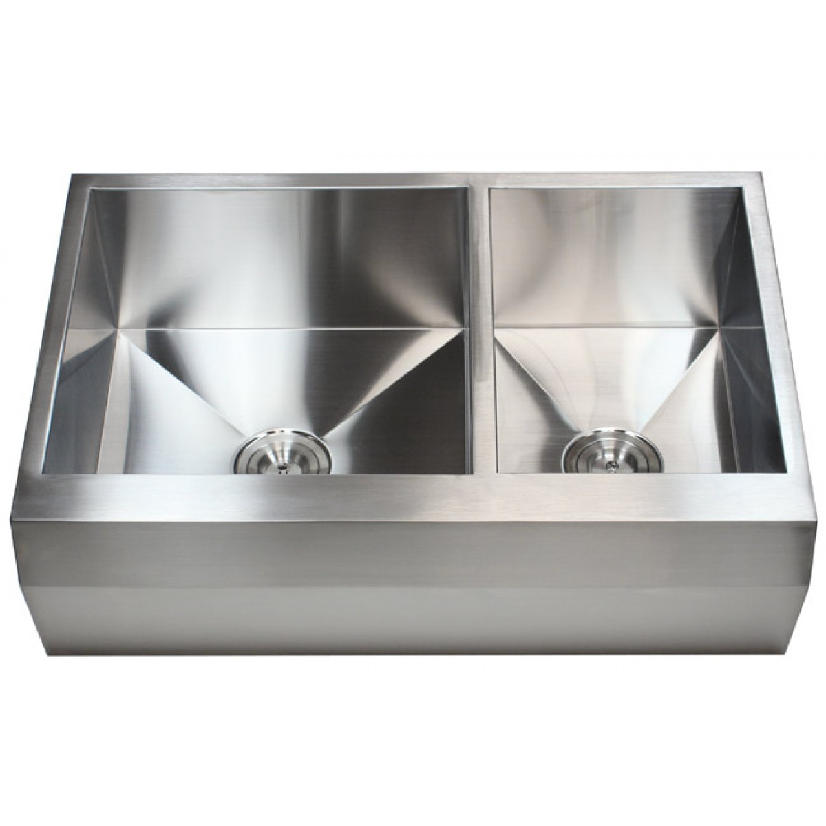 Overstock Farmhouse Sink 33 Inch Stainless Steel 60 40 Double Bowl Zero Radius Well