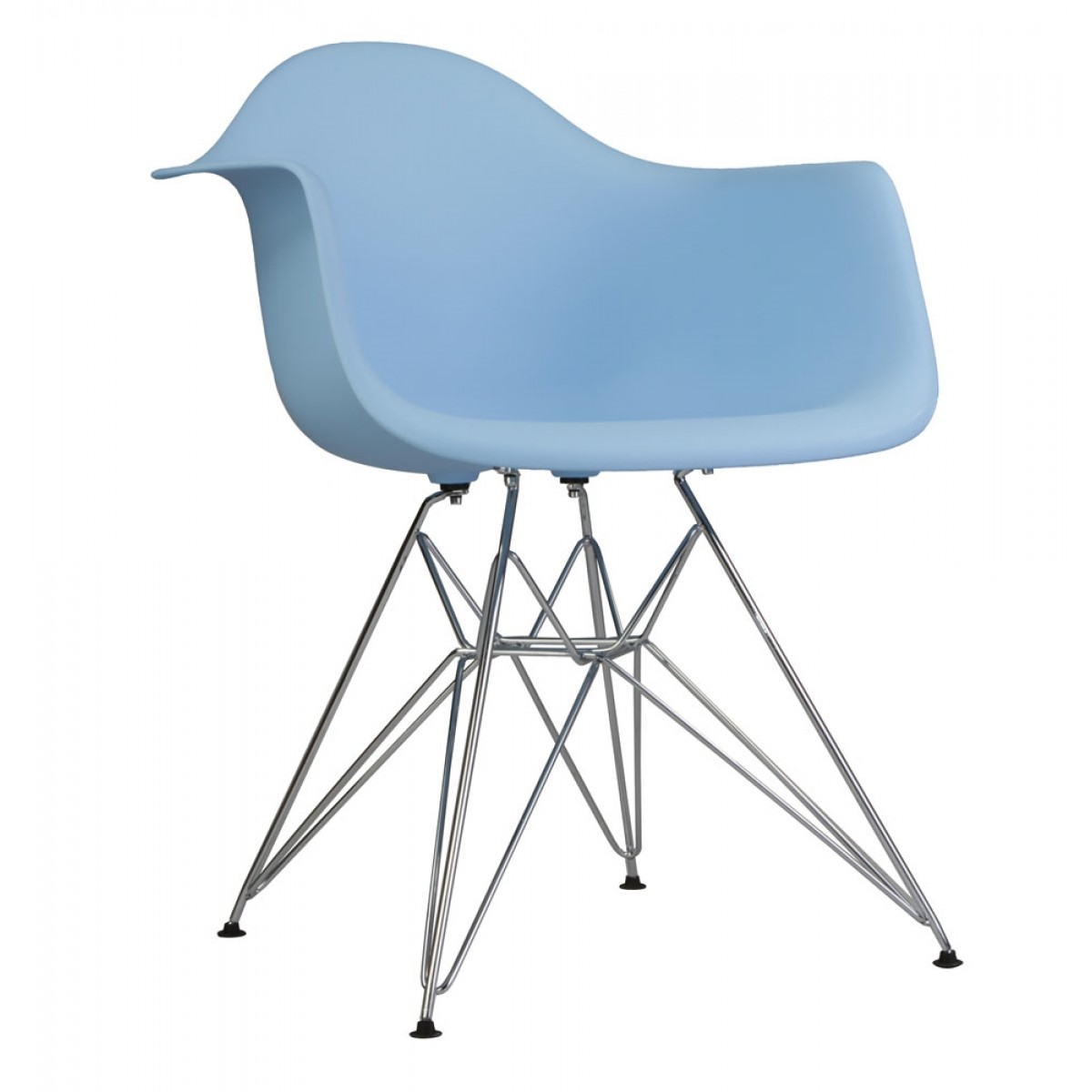 Eames Chair Dar Dar Molded Light Blue Plastic Dining Armchair With Steel Eiffel Legs