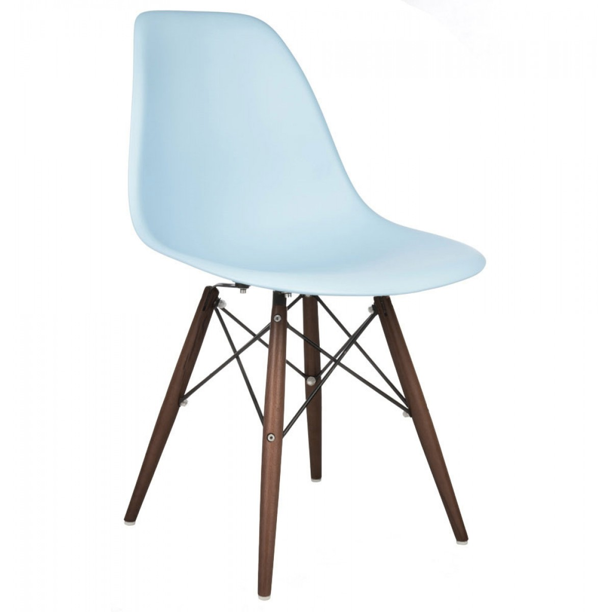 Eames Dsw Dsw Molded Light Blue Plastic Dining Shell Chair With Dark Walnut Wood Eiffel Legs