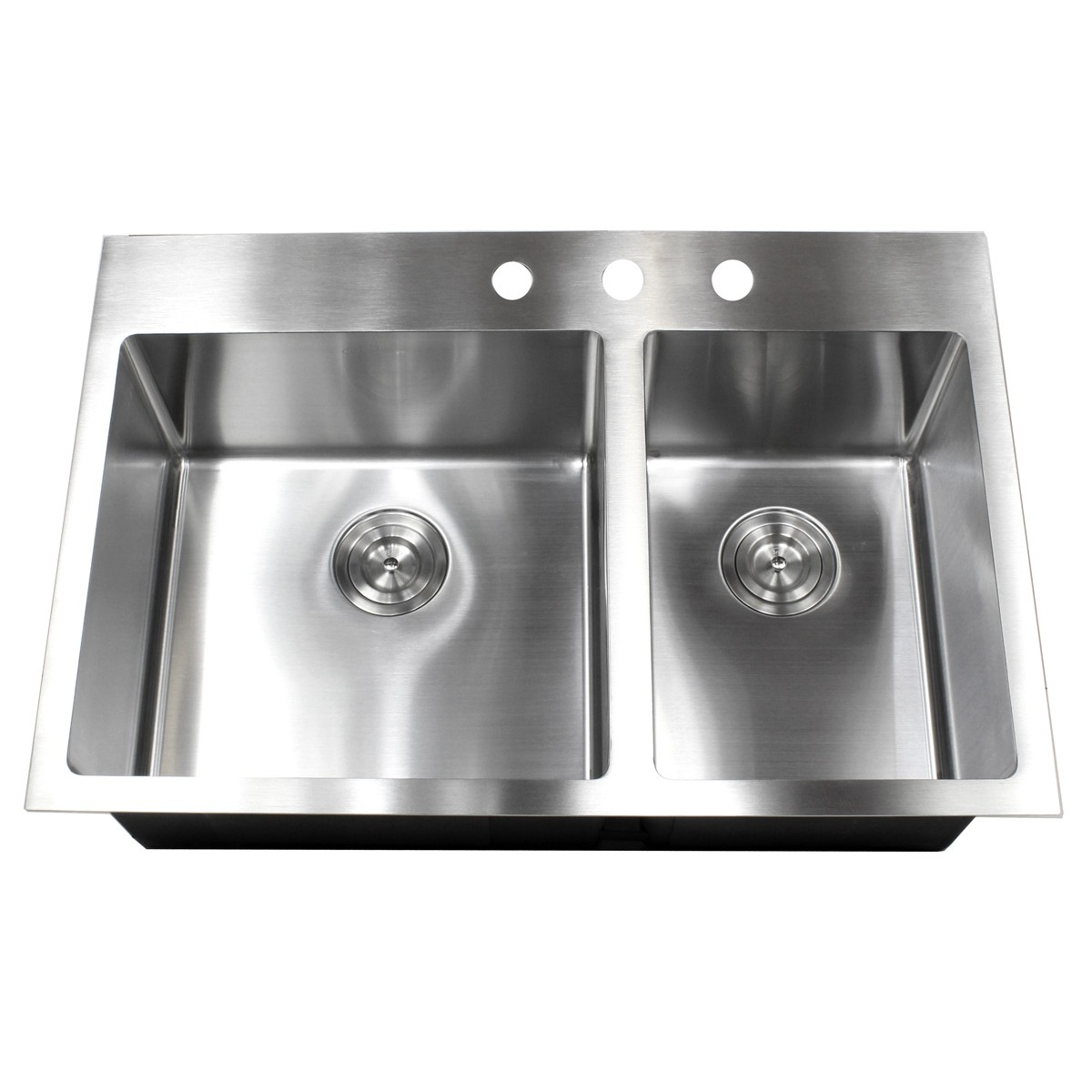 Stainless Steel Double Sink 33 Inch Top Mount Drop In Stainless Steel Double Bowl