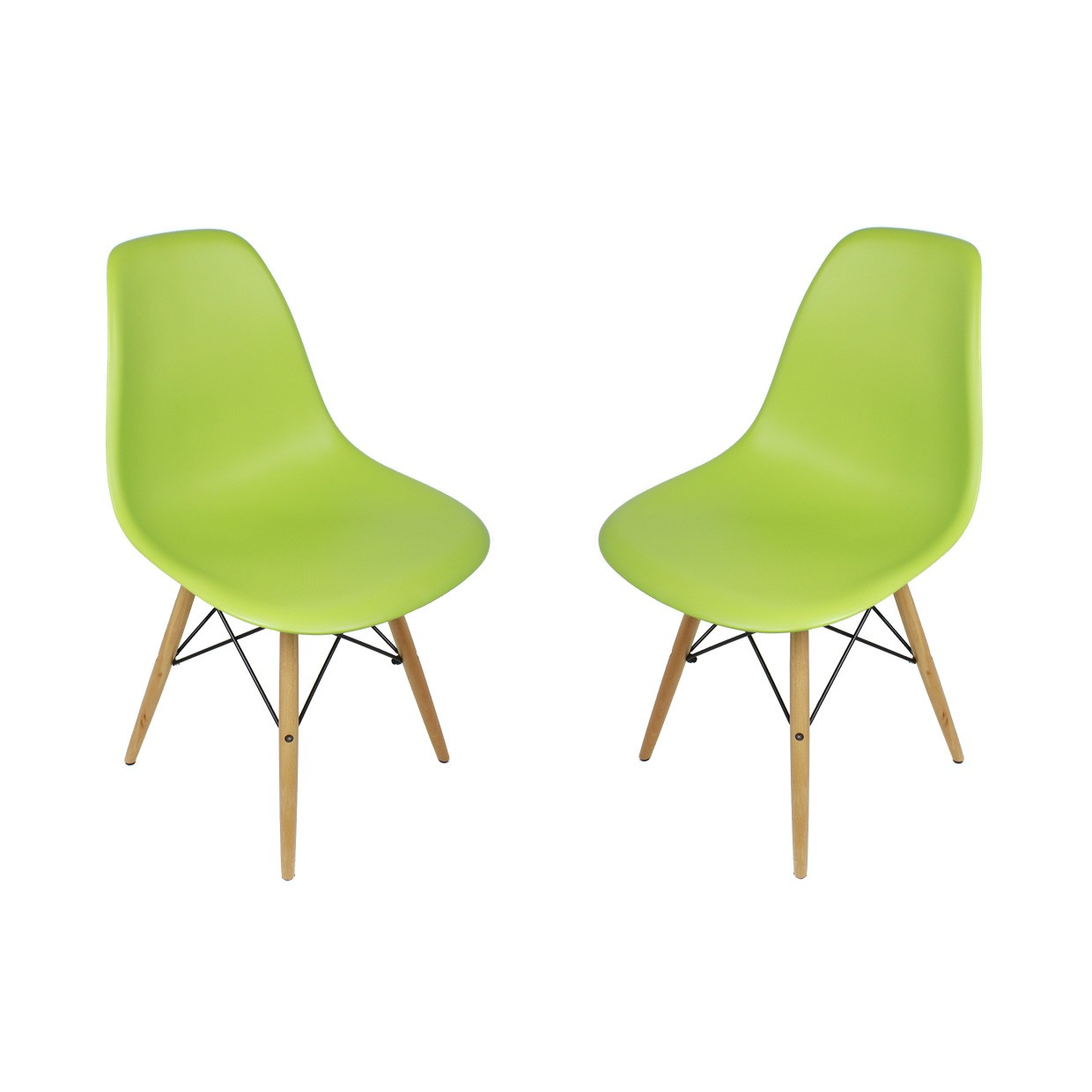 Sedia Eames Dws Set Of 2 Dsw Molded Lime Green Plastic Dining Shell Chair With Wood Eiffel Legs