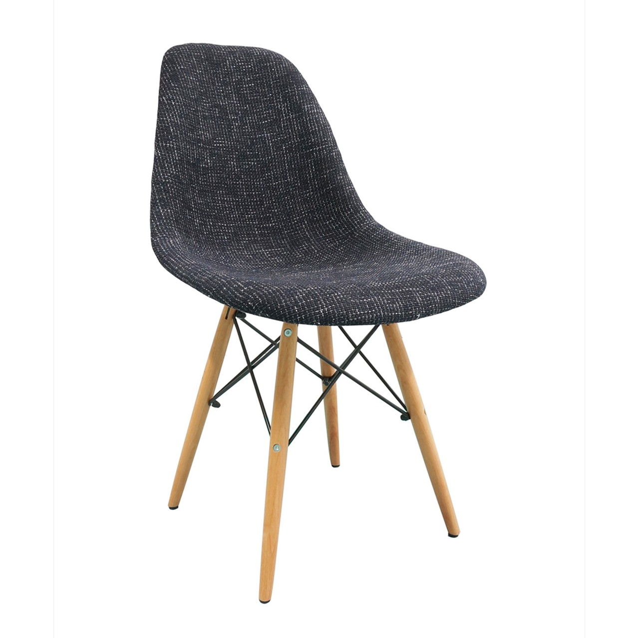 Eames Dsw Black Fabric Upholstered Dsw Shell Chair With Wood Eiffel Legs