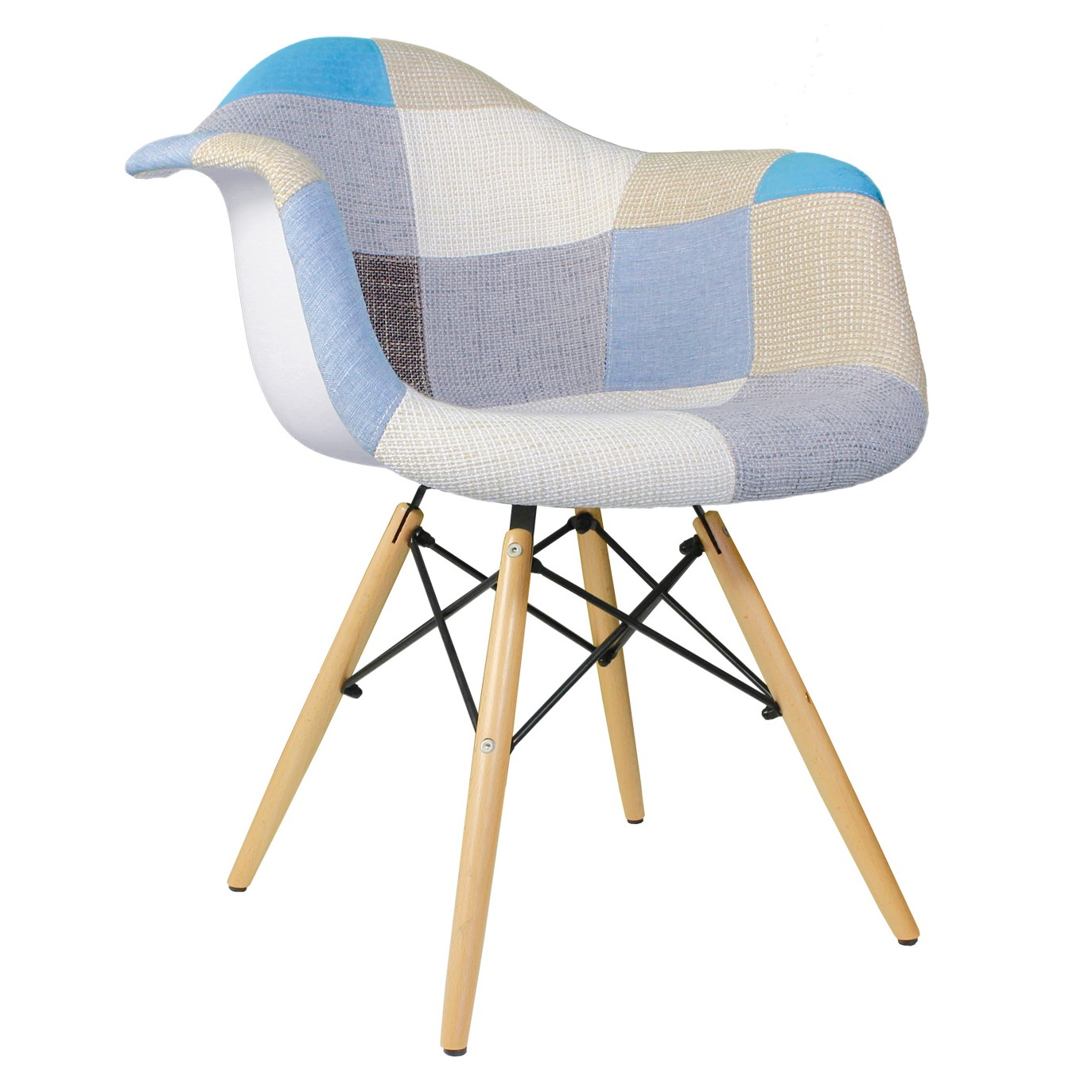 Accent Arm Chairs Patchwork Fabric Upholstered Mid Century Eames Style Accent Arm Chair