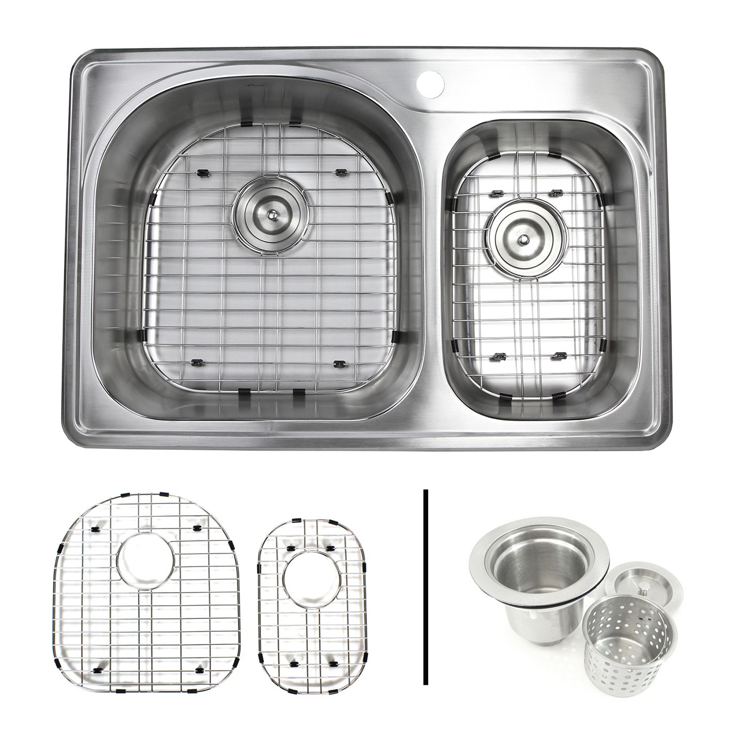 Stainless Steel Double Sink 33 Inch Top Mount Drop In Stainless Steel 70 30 Double