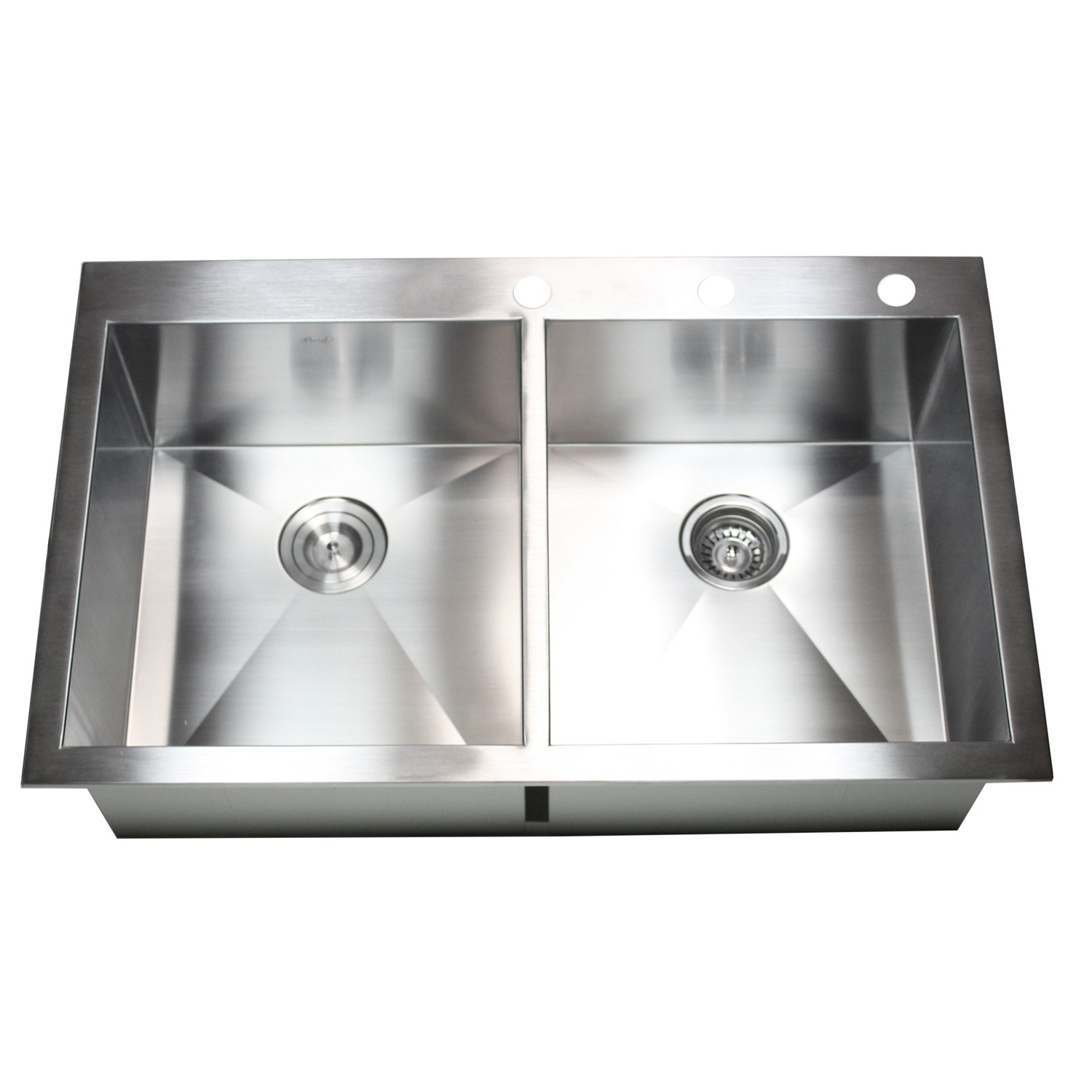 Stainless Steel Double Sink 36 Inch Top Mount Drop In Stainless Steel Double Bowl
