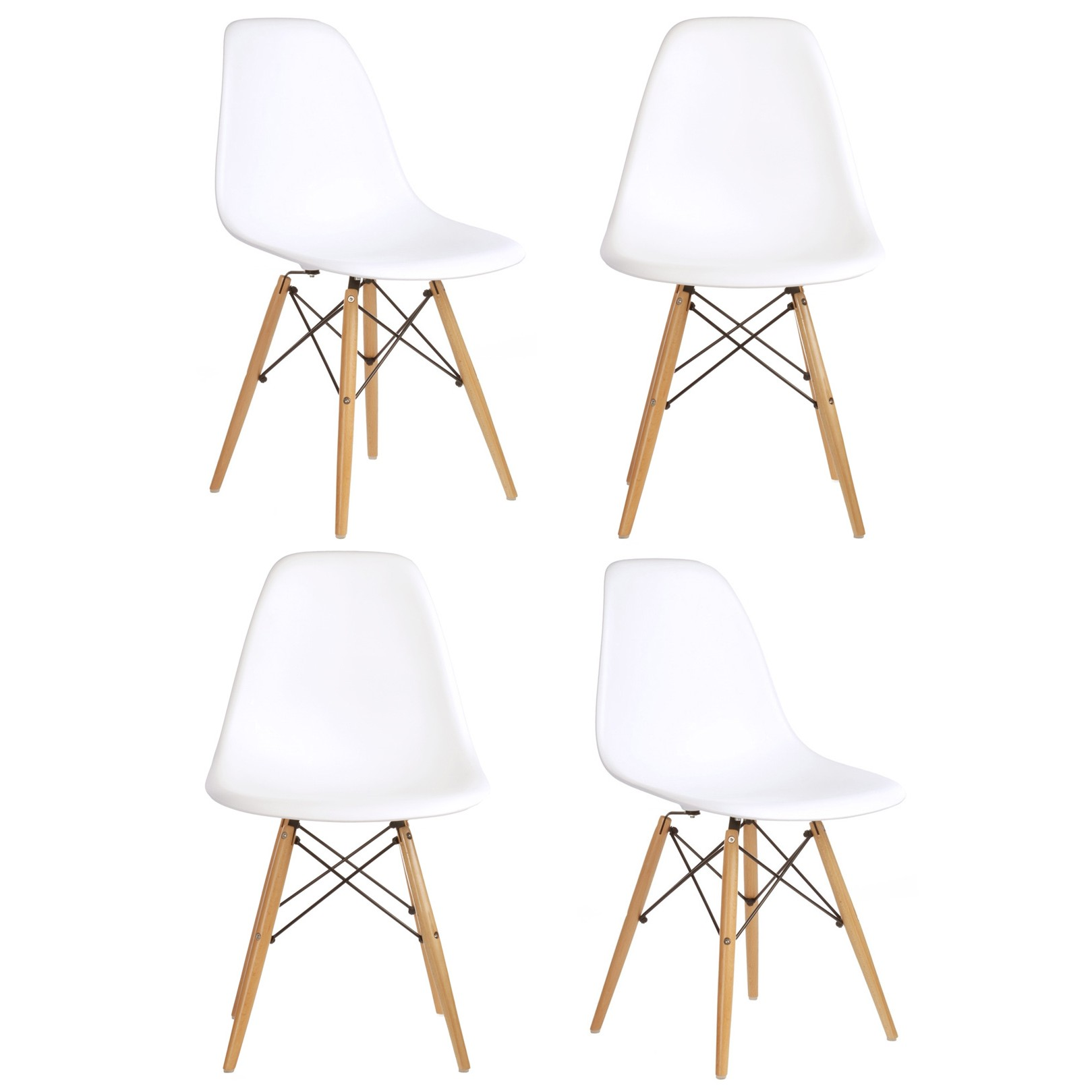 Eames Eiffel Set Of 4 Dsw Molded White Plastic Dining Shell Chair With Wood Eiffel Legs