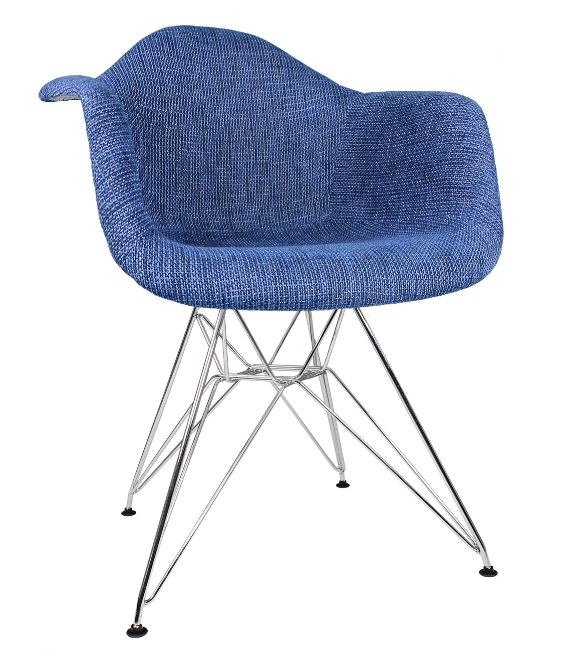 Accent Arm Chairs Denim Blue Woven Fabric Upholstered Accent Arm Chair
