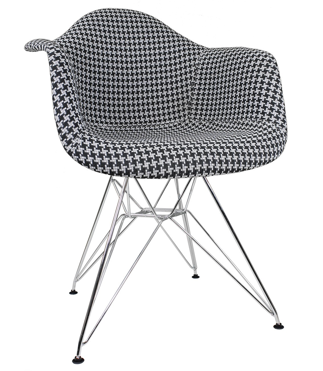Black And White Accent Chair Houndstooth Pattern Woven Fabric Upholstered White Accent Arm Chair