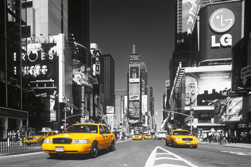 Tv Wand Schwarz New York - Times Square Yellow Cab - Poster - 91,5x61