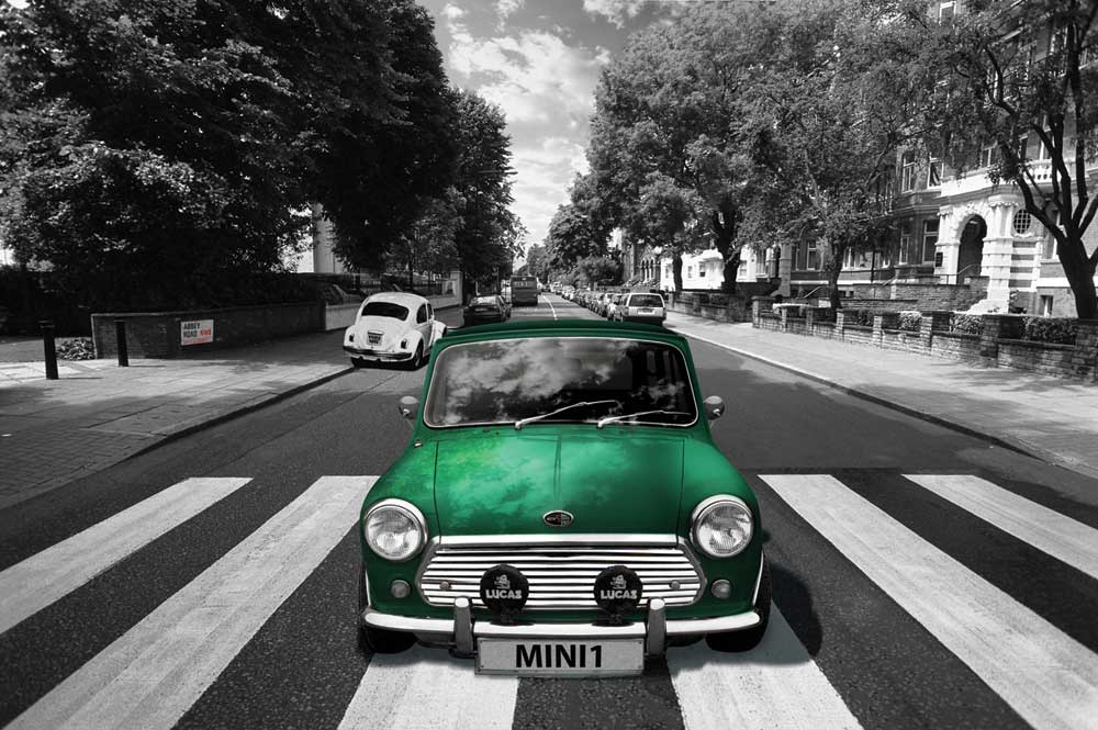 Poster Küche London - Abbey Road - Mini Cooper - Poster - 91,5x61