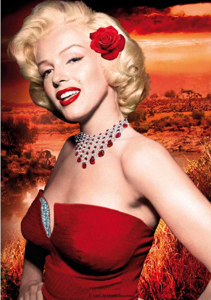 Rahmen Schwarz Marilyn Monroe - Red Dress - Poster - 68x98