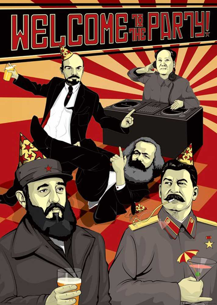 Poster Für Küche Welcome To The Party - Lenin, Stalin, Marx, Mao, Castro