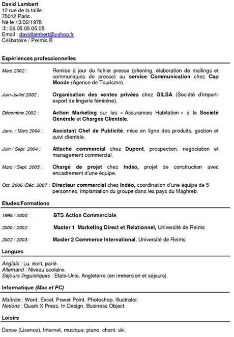 cv chef de chantier electricien