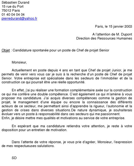 exemple cv lettre de motivation spontane