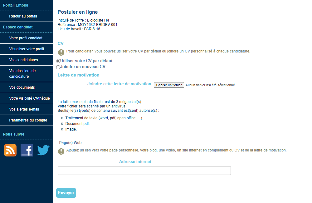 joindre cv lettre de motivation mail