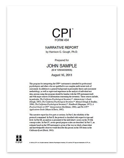 California Psychological Inventory CPI 434™ Narrative Report - psychological report