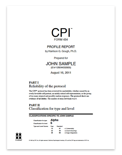 California Psychological Inventory CPI 434™ Configural Analysis