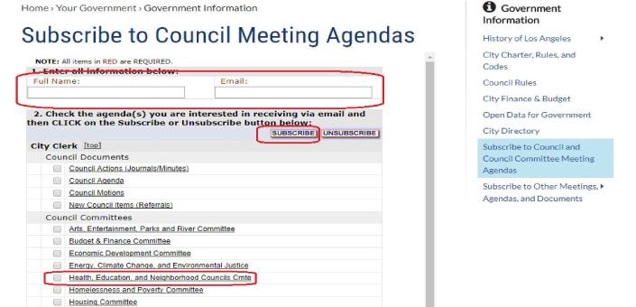 Subscribe to the City Council\u0027s Health, Education  Neighborhood
