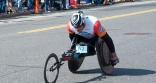 Ernst Van Dyk, the 2014 Boston Marathon men's pushrim wheelchair