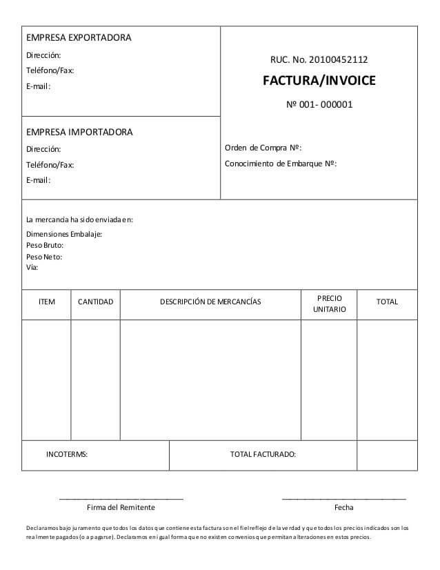 Factura Comercial - Definición, Formato y Características