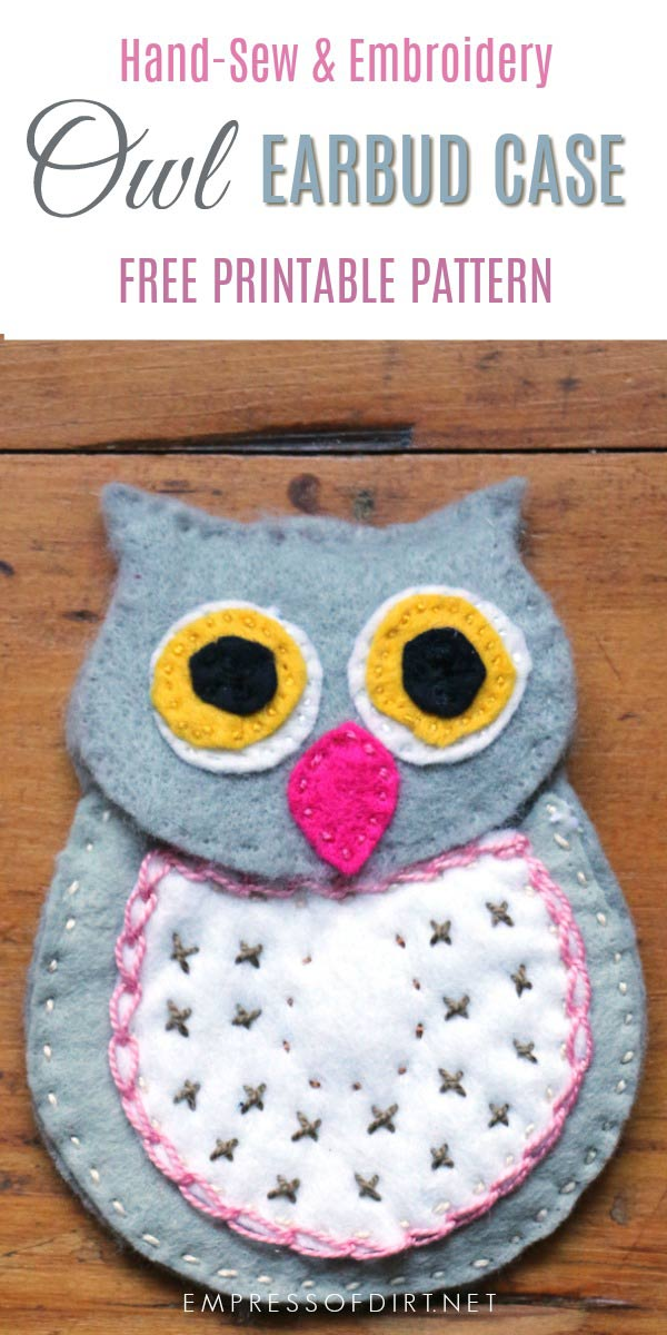 DIY Wool Felt Owl Earbud Case Free Pattern Empress of Dirt