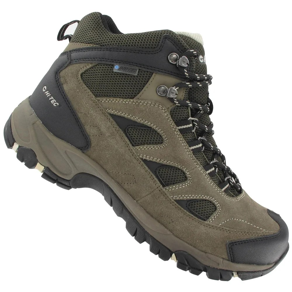 Hi Tec Com Hi Tec Men S Logan Wp Hiking Boots Smokey Brown Olive Snow Wide