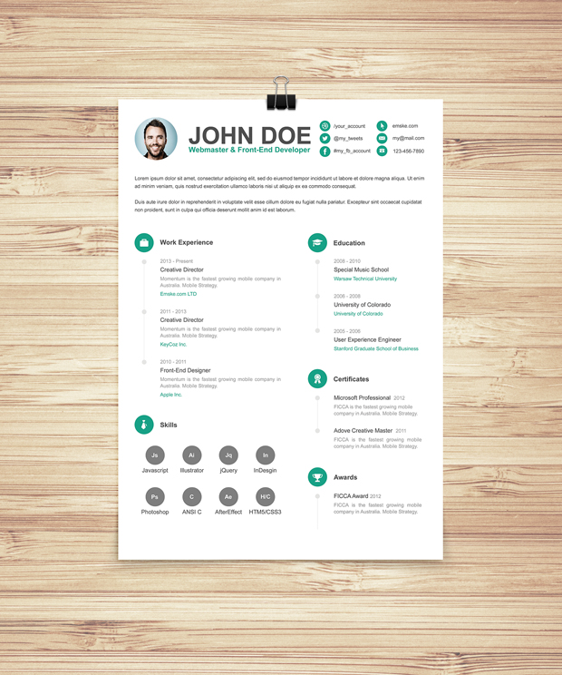 Simple Resume Template Vol 6