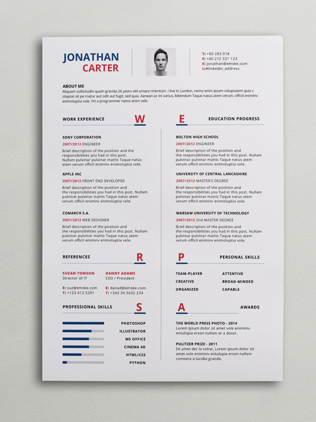 Modern Resume Template (PSD, Word) - Resume/cv Template