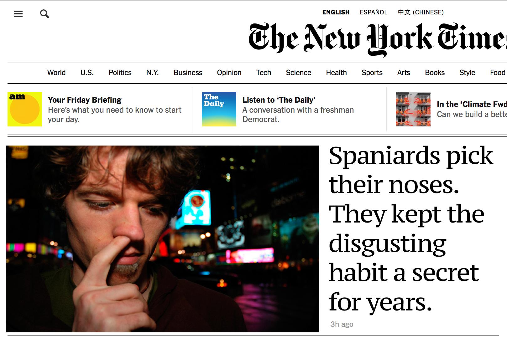 Los extranjeros descubren con asco que los españoles nos sacamos los mocos
