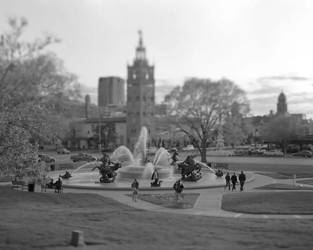 JC Nichols fountain, Country Club Plaza, Kansas City, Missouri - Tmax 100 - 150mm lens