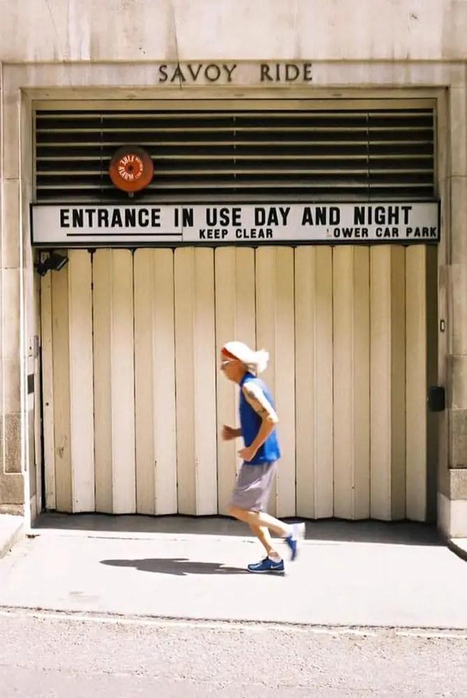 """Running Man"" The Savoy, London, July 2015 - AgfaVista 200 /Olympus OM10 / Zuiko 50mm"