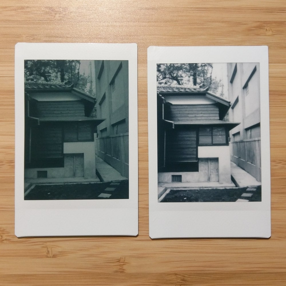 Instax Mini Monochrome - House 03 - Left: Orange #21 filter + L-Mode / Right: No filter