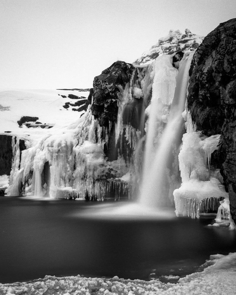 "Kirkjufellfoss. Zuiko 50mm F1.8; 3'14"" at f/8; PAN F in Ilfotec DD-X."