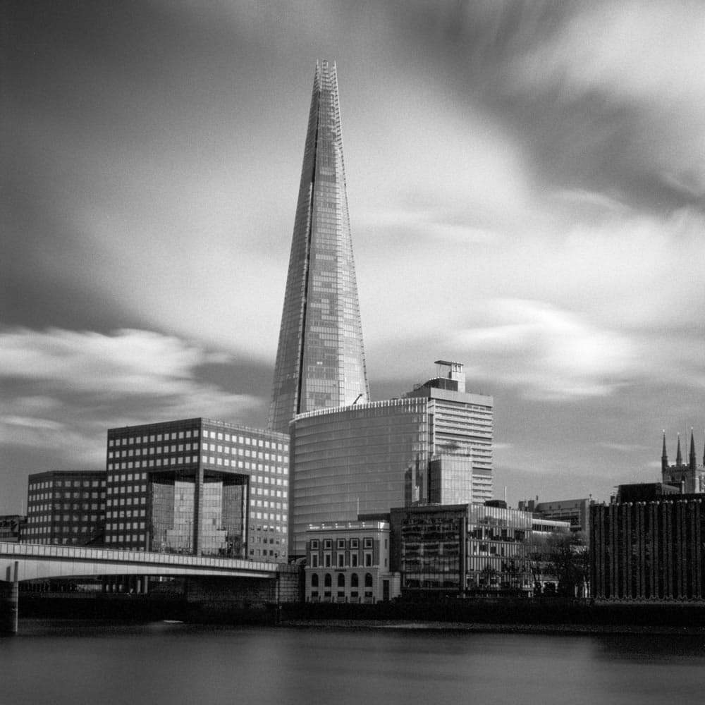 "Different scene, same principle: The Shard, London. Zuiko 35mm F2.0; 2'35"" at f/11. TMax 100 in FX-37."