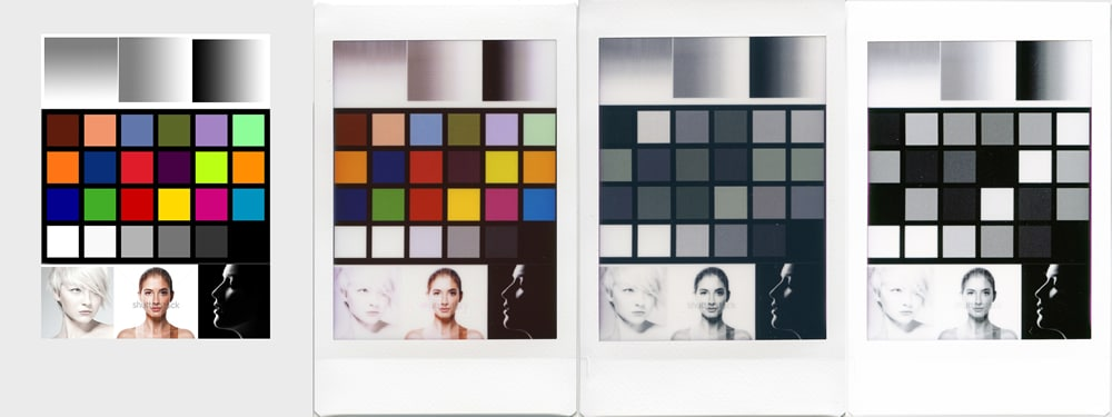 Fuji Instax Mini Monochrome and Color - Test Matrix - Left to right: Original, Color, Monochrome (using a colour image), Monochrome (using a desaturated image)