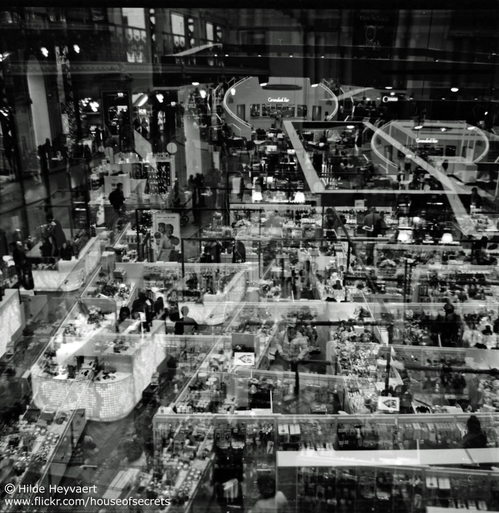Double exposure on the Stadsfeestzaal mall floor, Antwerp, Belgium - Agfa Click 1, Kodak T-MAX 100 film