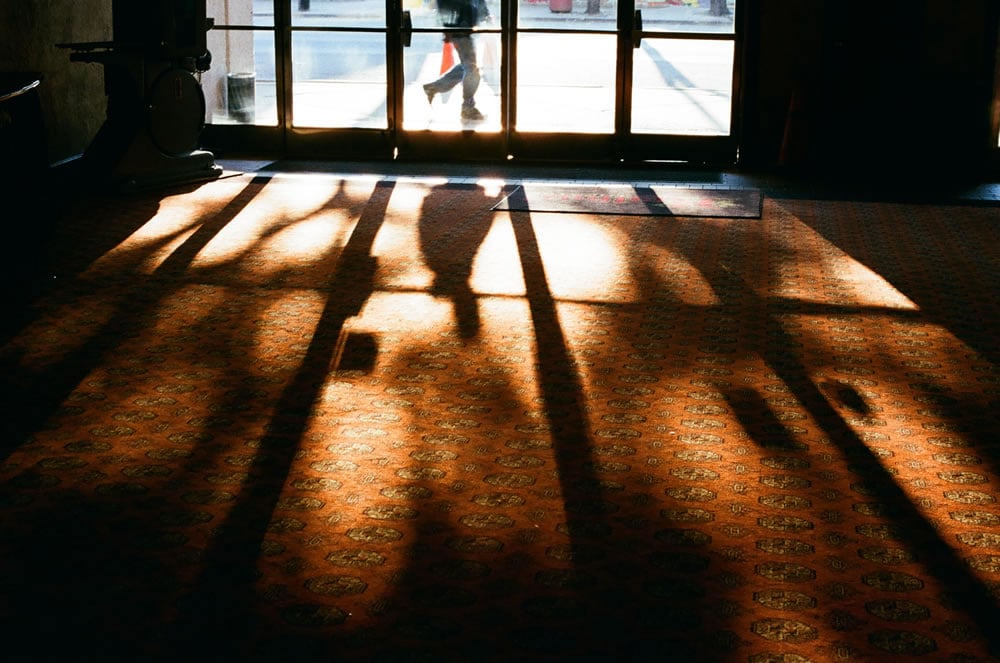 Cinema lobby shadows, Kodak Ektar 100, Minolta SRT-102, metro Detroit