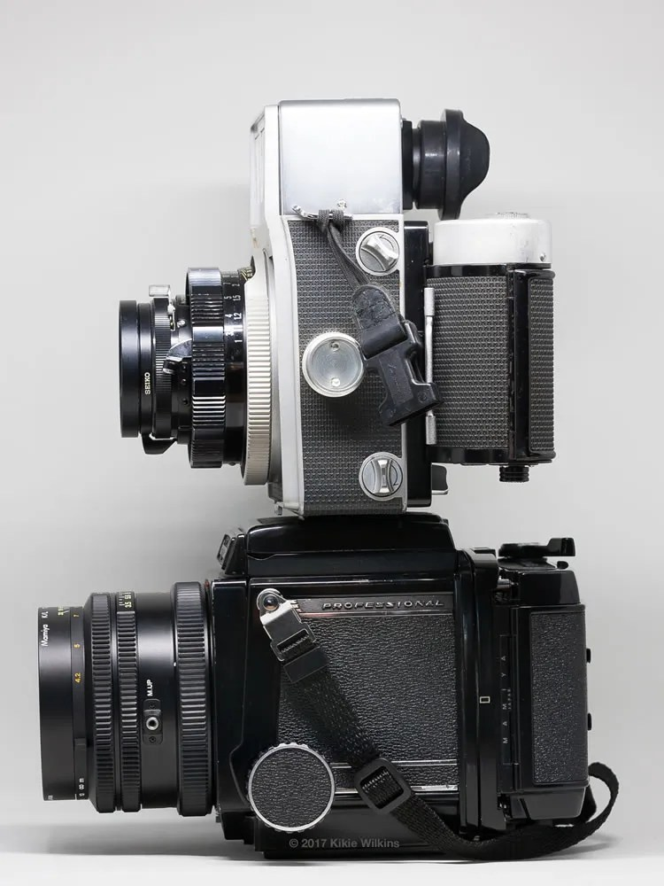 Side view of Mamiya RB67 and Super 23