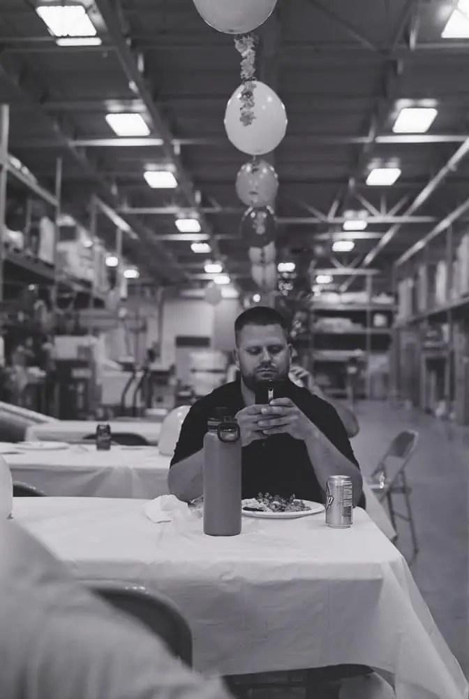 Warehouse Lunch,Mamiya Super 23, 100mm f/3.5, Kodak 400TX (EI 3200)