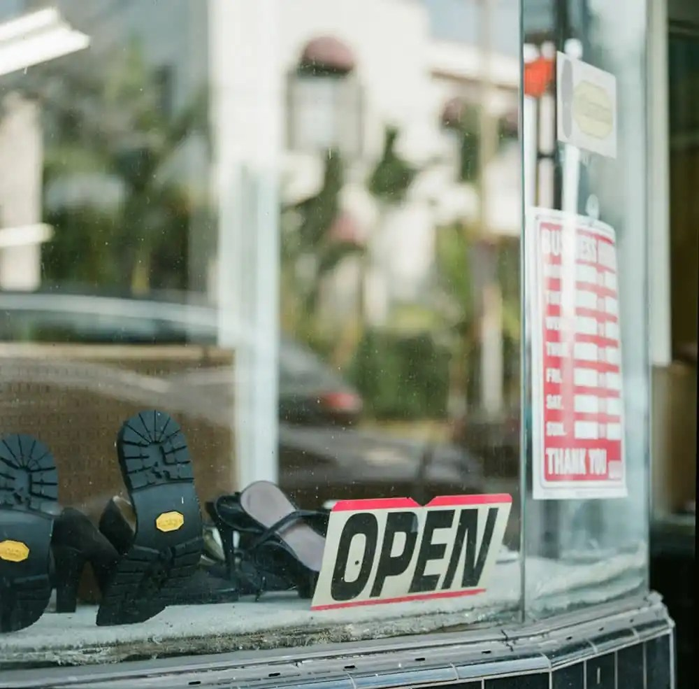 Open, Fountain Ave - Fountain Avenue shoe repair shop. Hasselblad 500C, Fujifilm Pro 400H.